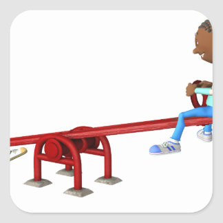 Cartoon African American Children on a See Saw Square Sticker