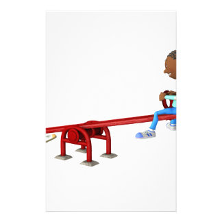 Cartoon African American Children on a See Saw Stationery