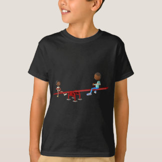 Cartoon African American Children on a See Saw T-Shirt