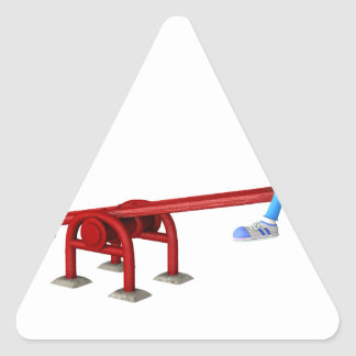 Cartoon African American Children on a See Saw Triangle Sticker