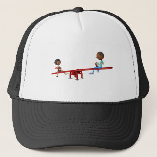 Cartoon African American Children on a See Saw Trucker Hat