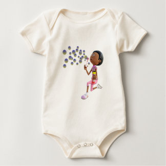 Cartoon African American Girl Blowing Bubbles Baby Bodysuit