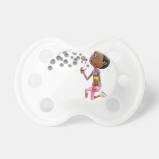 Cartoon African American Girl Blowing Bubbles Baby Pacifiers