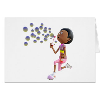 Cartoon African American Girl Blowing Bubbles Card