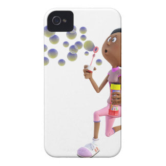 Cartoon African American Girl Blowing Bubbles iPhone 4 Cases