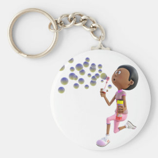Cartoon African American Girl Blowing Bubbles Keychain