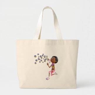 Cartoon African American Girl Blowing Bubbles Large Tote Bag