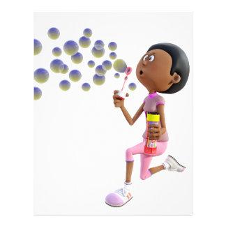 Cartoon African American Girl Blowing Bubbles Letterhead
