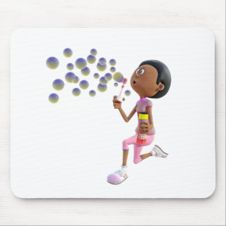 Cartoon African American Girl Blowing Bubbles Mouse Pad