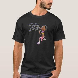 Cartoon African American Girl Blowing Bubbles T-Shirt