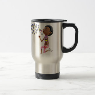 Cartoon African American Girl Blowing Bubbles Travel Mug