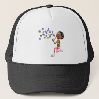 Cartoon African American Girl Blowing Bubbles Trucker Hat