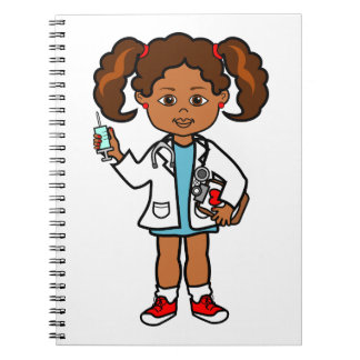Cartoon African American Girl Doctor with Needle Spiral Notebook