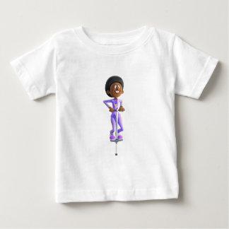 Cartoon African American Girl riding a Pogo Stick Baby T-Shirt