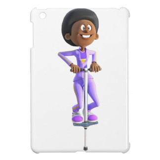 Cartoon African American Girl riding a Pogo Stick Case For The iPad Mini