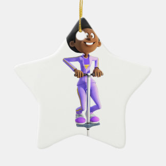Cartoon African American Girl riding a Pogo Stick Ceramic Ornament