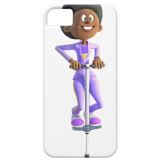 Cartoon African American Girl riding a Pogo Stick iPhone 5 Case