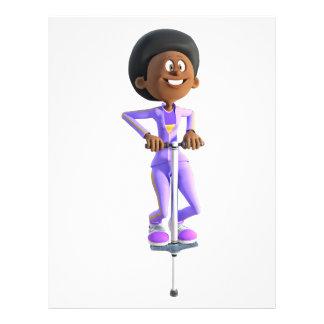 Cartoon African American Girl riding a Pogo Stick Letterhead