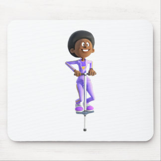 Cartoon African American Girl riding a Pogo Stick Mouse Pad