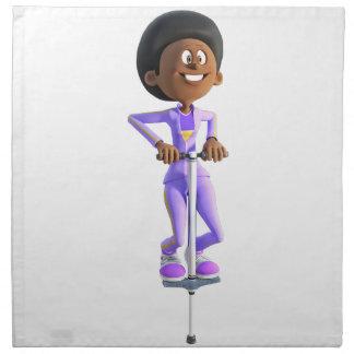 Cartoon African American Girl riding a Pogo Stick Napkin