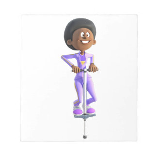 Cartoon African American Girl riding a Pogo Stick Notepad