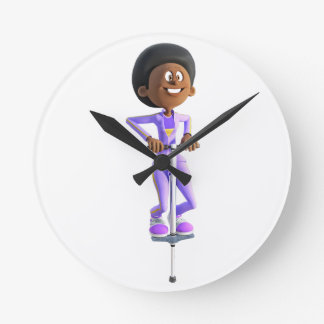 Cartoon African American Girl riding a Pogo Stick Round Clock