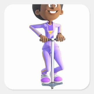 Cartoon African American Girl riding a Pogo Stick Square Sticker