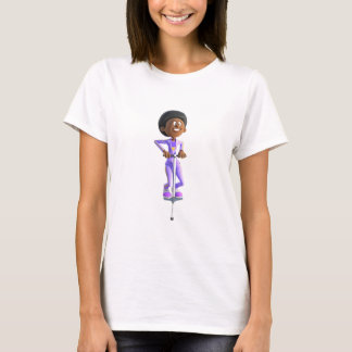 Cartoon African American Girl riding a Pogo Stick T-Shirt