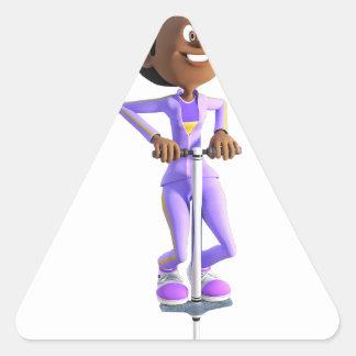 Cartoon African American Girl riding a Pogo Stick Triangle Sticker