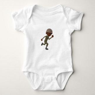 Cartoon African American Soldier Running Baby Bodysuit