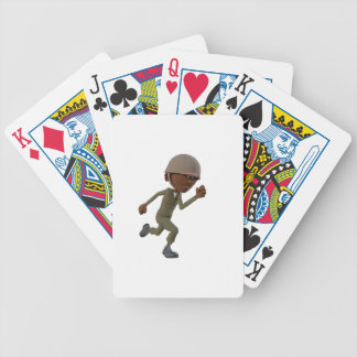 Cartoon African American Soldier Running Bicycle Playing Cards