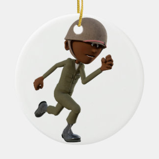 Cartoon African American Soldier Running Ceramic Ornament