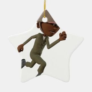 Cartoon African American Soldier Running Ceramic Ornament