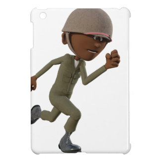 Cartoon African American Soldier Running Cover For The iPad Mini