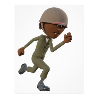 Cartoon African American Soldier Running Custom Letterhead