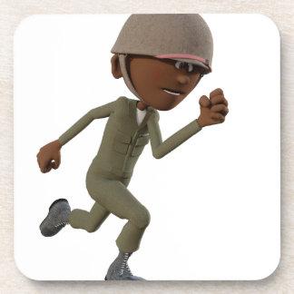 Cartoon African American Soldier Running Drink Coasters