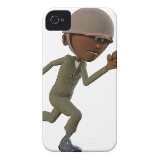 Cartoon African American Soldier Running iPhone 4 Case-Mate Case