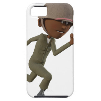 Cartoon African American Soldier Running iPhone 5 Case