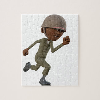 Cartoon African American Soldier Running Jigsaw Puzzle