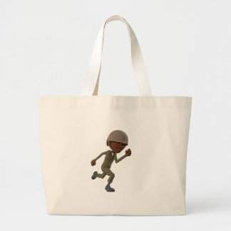 Cartoon African American Soldier Running Large Tote Bag