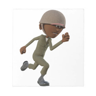 Cartoon African American Soldier Running Notepad