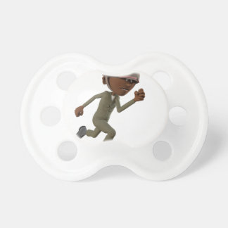 Cartoon African American Soldier Running Pacifiers