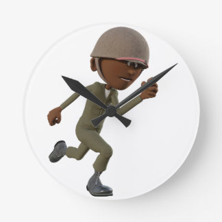 Cartoon African American Soldier Running Round Clock