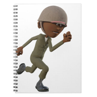 Cartoon African American Soldier Running Spiral Notebook