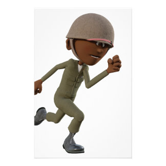 Cartoon African American Soldier Running Stationery