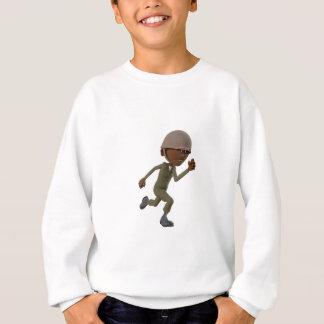Cartoon African American Soldier Running Sweatshirt