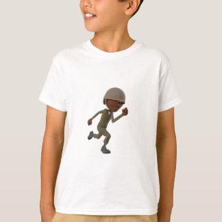 Cartoon African American Soldier Running T-Shirt