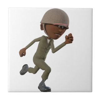 Cartoon African American Soldier Running Tile