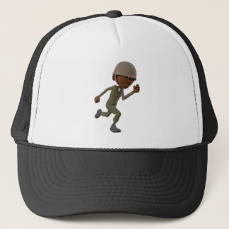 Cartoon African American Soldier Running Trucker Hat