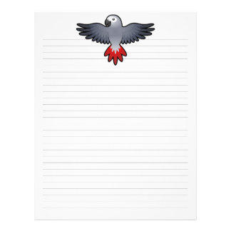 Cartoon African Grey / Amazon / Parrot Personalized Letterhead